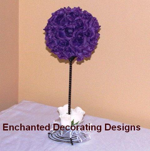 Wedding - Wedding Topiary Wedding centerpiece silk Flower Kissing Ball Centerpiece wedding silk flower topiary pomander ball wedding centerpiece