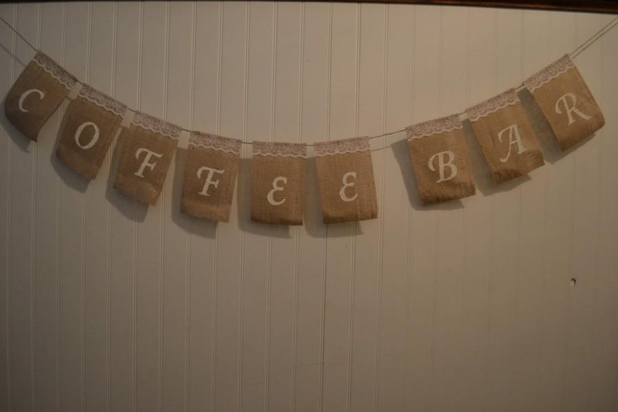 Свадьба - Burlap Coffee Bar Sign, Burlap Wedding Sign