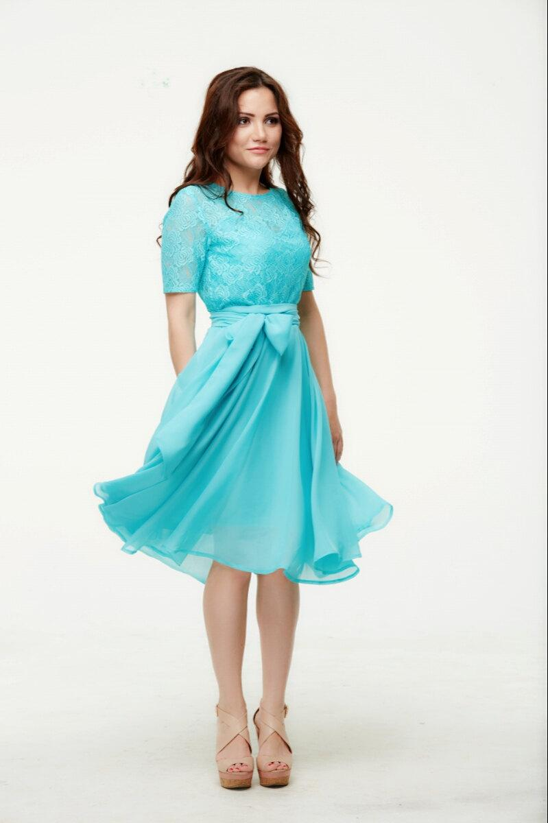 Wedding - Bridesmaid Blue Dress, Lace Chiffon Dress, Belt, Bowknot, Cute Romantic Dress.
