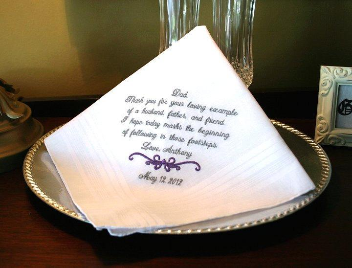 Mariage - Father of The Groom Handkerchief -Hankie - Hanky -MOTIF -  Thank you for your Loving Example  - Wedding - Groom to give Father