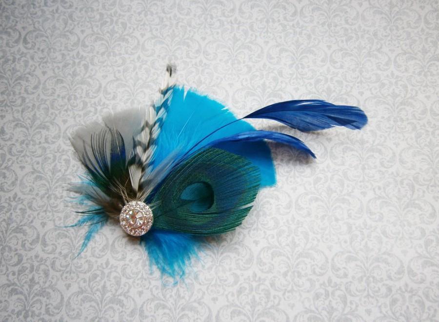 Mariage - Feather Hair Accessories, Peacock Feather Hair PIece, Wedding Hair Accessory, Blue, Turquoise, aqua, gray - AQUA BLUE