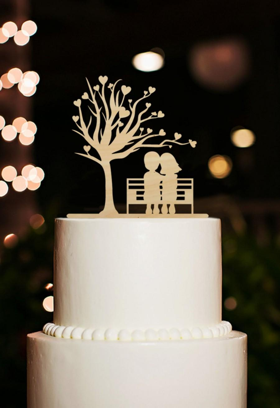 Mariage - Silhouette Bride and Groom Cake Topper Wedding-Rustic Tree Cake Topper-Cake Topper-Phase Cake Topper-Wood Cake Topper Wedding Cake Decor