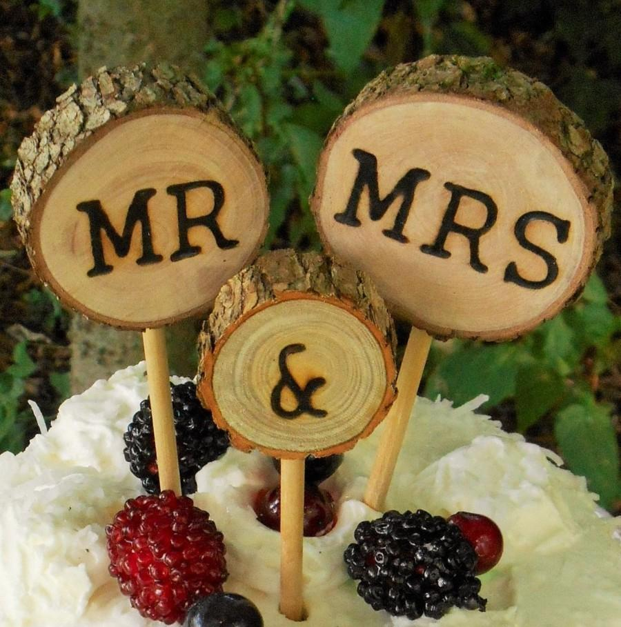 Mariage - Rustic wedding Cake Topper,Wedding cake topper, Tree slice cake topper, Wood Cake Topper, Mr and Mrs,  country wedding