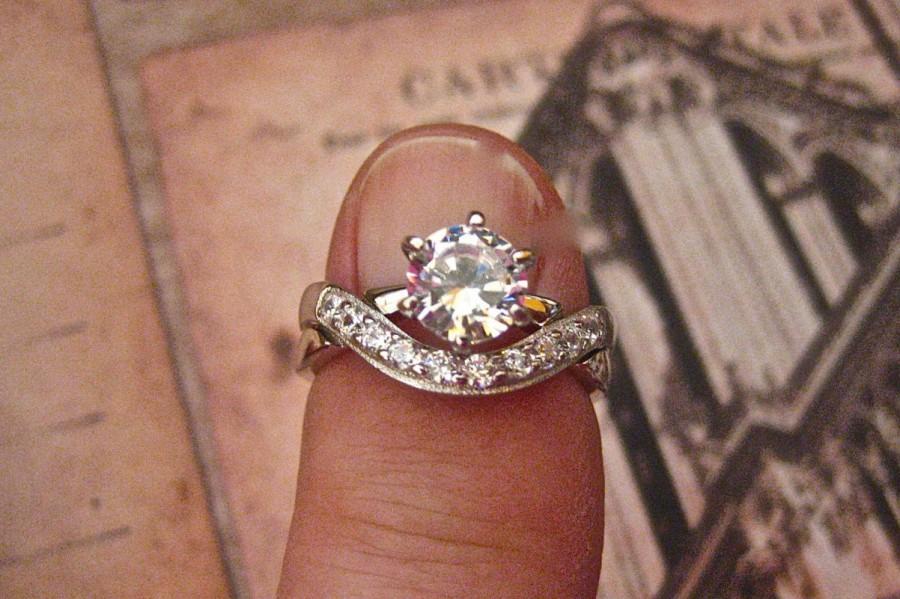 Wedding - Vintage 925 Sterling Silver and CZ Wedding Ring Set