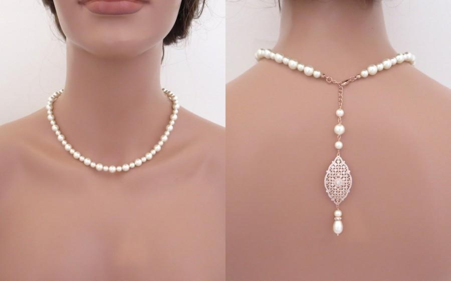 Wedding - Rose Gold Backdrop necklace, Bridal back drop necklace, Wedding jewelry, Wedding back necklace, Rose Gold necklace, Pearl necklace, ANNA