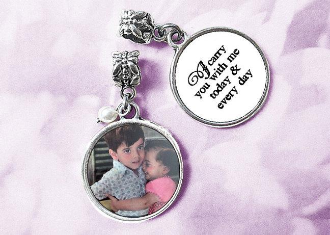Mariage - CUSTOM double-sided Silver / Bouquet Photo Charm / Wedding Memorial / Complete Kit / Bridal Keepsake Gift