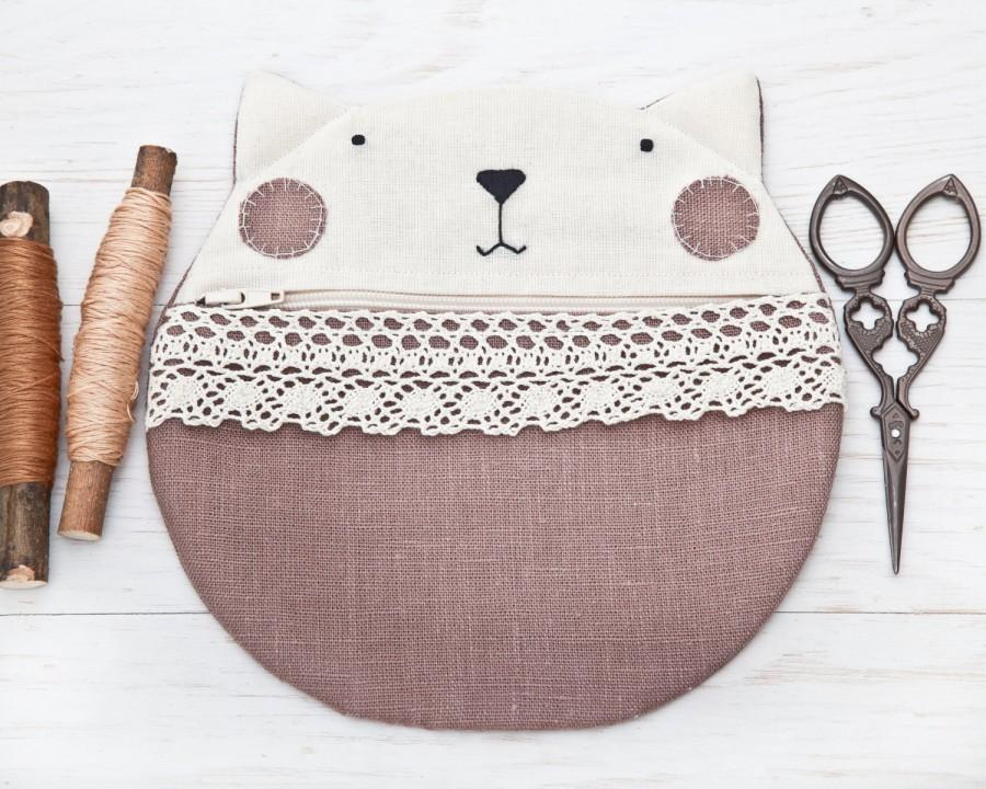 cat linen cosmetics bag cute gifts for her beige makeup bag lace