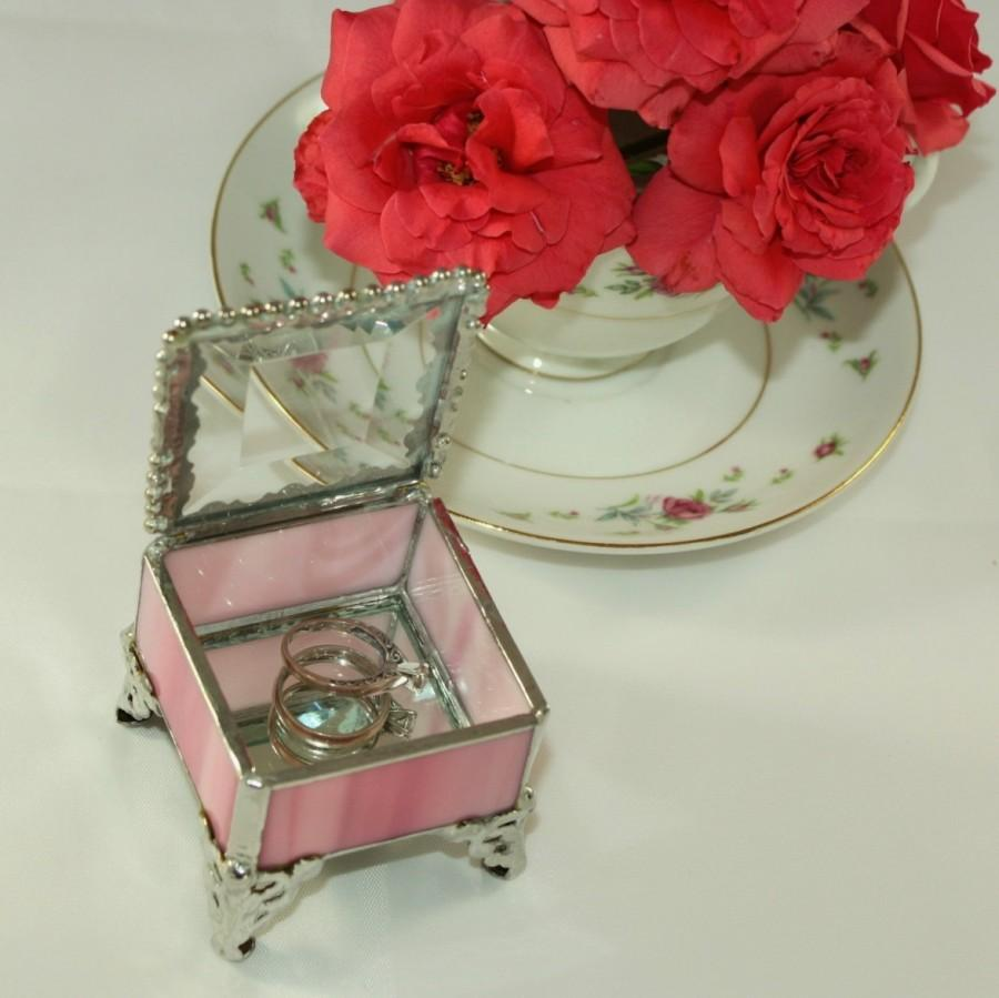 Glass Ring Box, Wedding Ring Pillow Alternative, Pink With Silver Metal  Trim, Hand Made In The USA