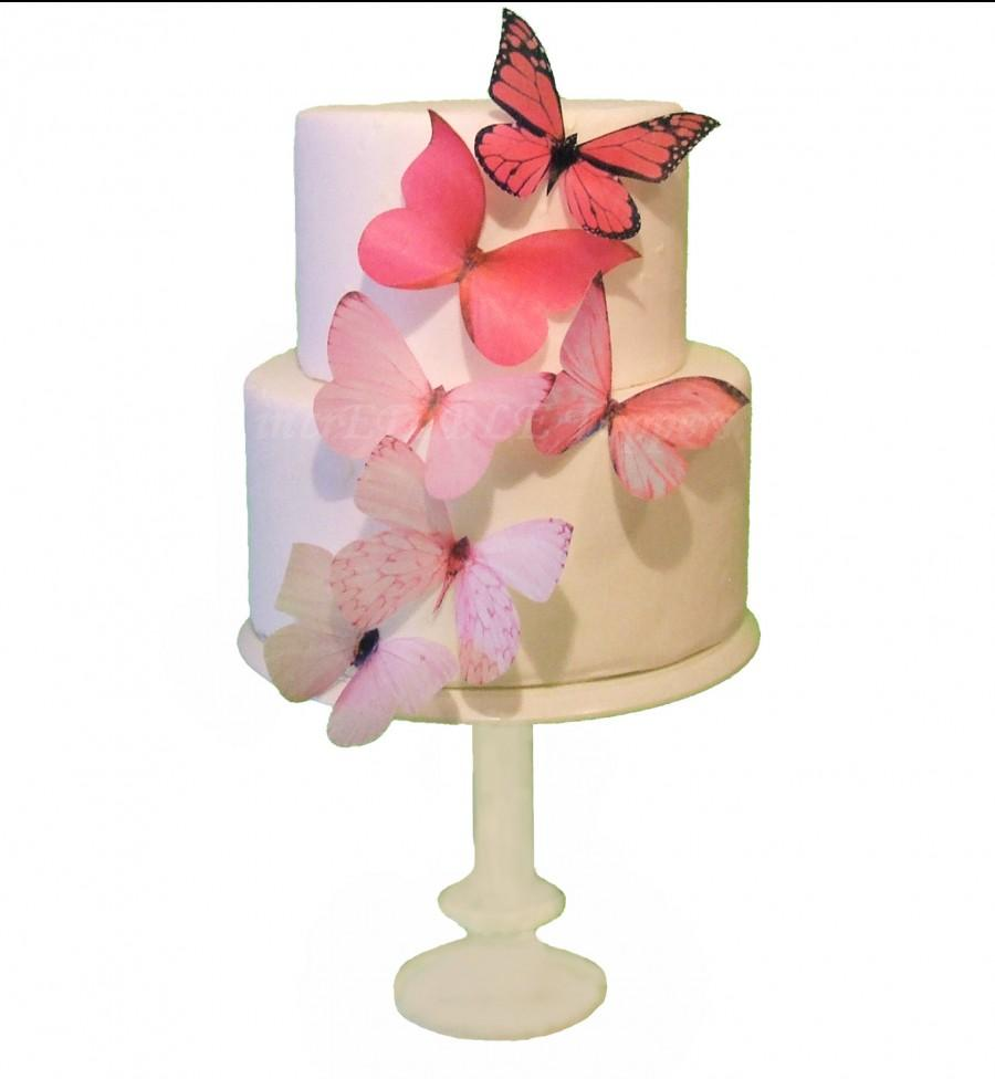 Cake Topper - 6 Pink Ombre Edible Butterflies - Wedding Cake Toppers ...