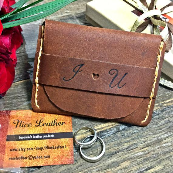 Flap Wallet Anniversary Gifts For Him Personalized Leather Birthday Gift Groomsmen NiceLeather NL101