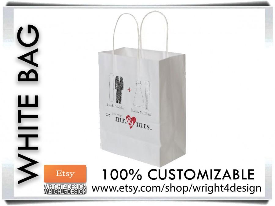 "Mariage - Set of 10 Custom Designed and Printed White Wedding Welcome Bags or Wedding Favor Bag 8"" x 10"" Black and White"