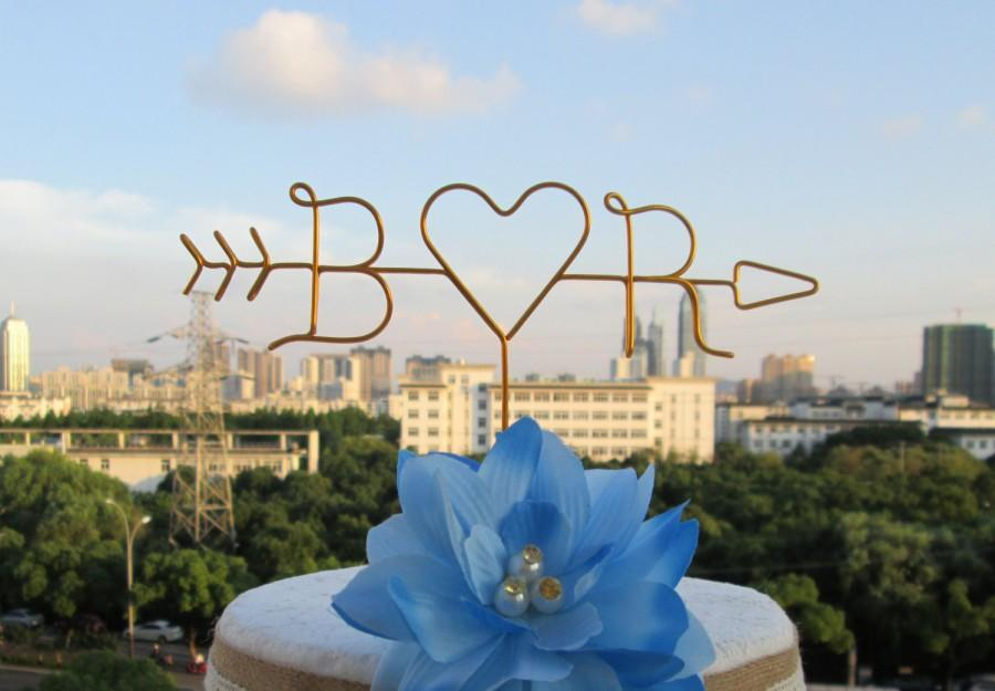 زفاف - Arrow Cake Topper, One Heart, Initials Cake Topper, Rustic Wedding Cake Toppers, Wire Cake Topper, Custom Cake Topper
