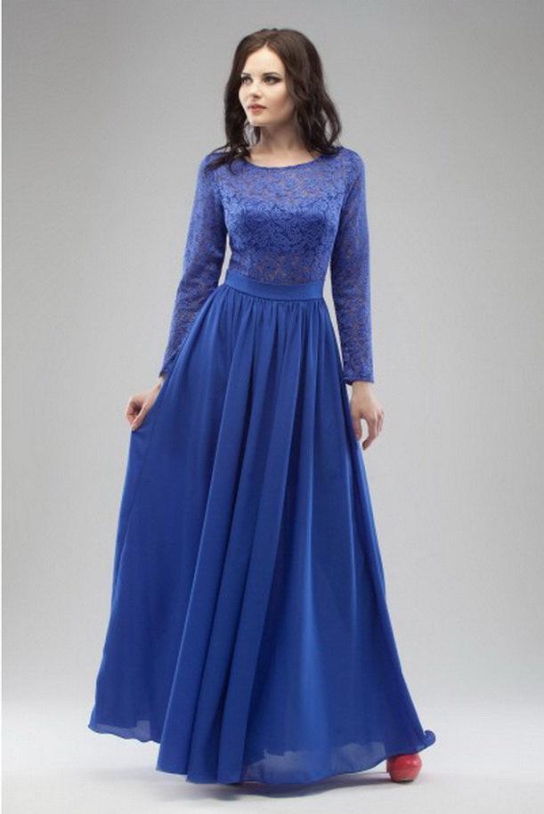 Cobalt Blue Evening Dress Maxi Wedding Lace Dress Floor Length ...