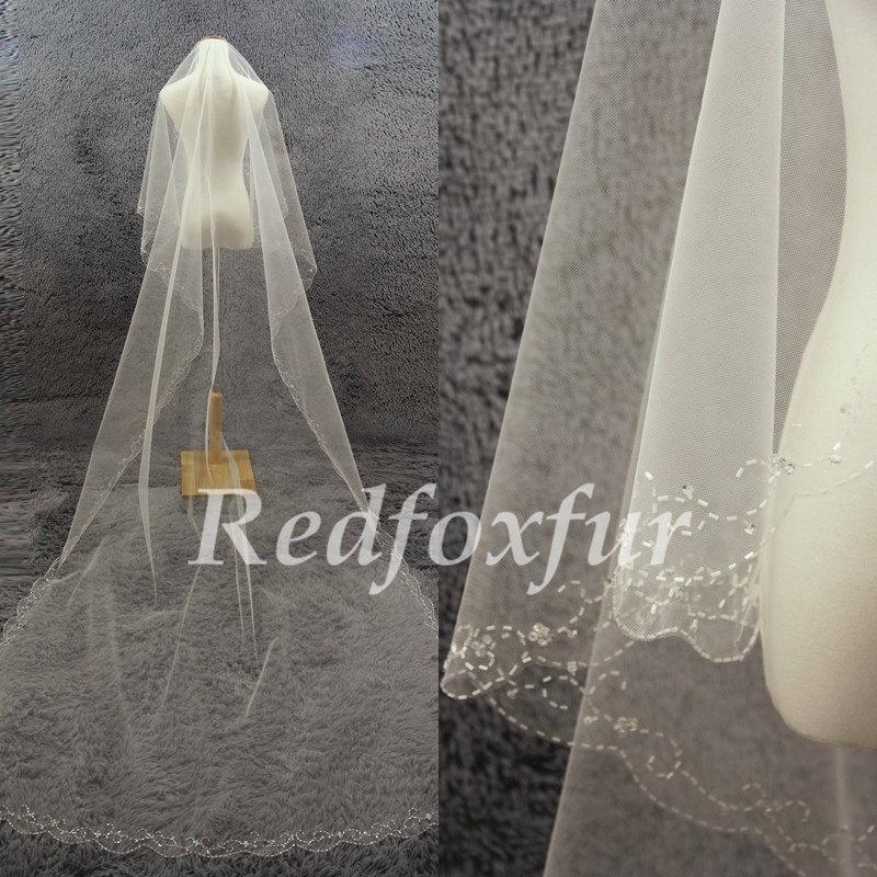 Mariage - 1T Cathedral Veil Ivory veil Bridal Veil Hand-beaded Crescent edge Wedding dress veil Wedding Accessories No comb