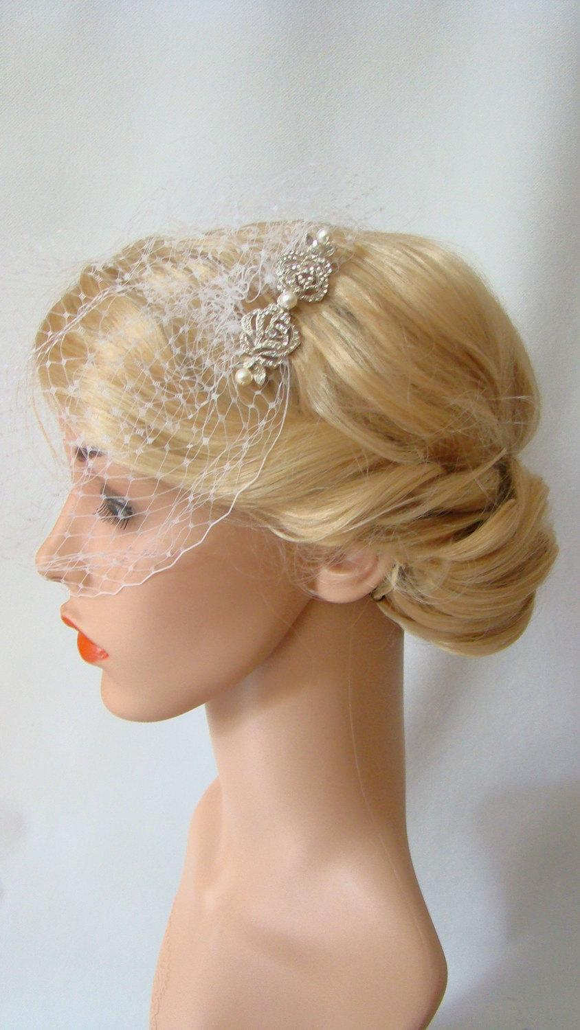 Wedding - Bird Cage Veil, Ivory Birdcage Veil and Fascinator, Silver Hair Comb, 2 Pieces Set, Detachable Veil
