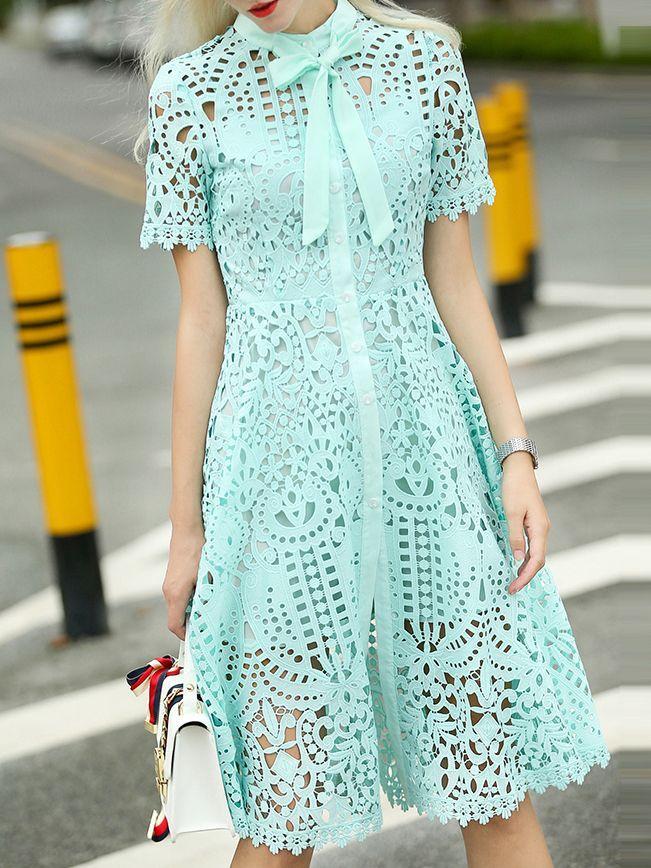 Wedding - Green Tie Neck Crochet Hollow Out Dress