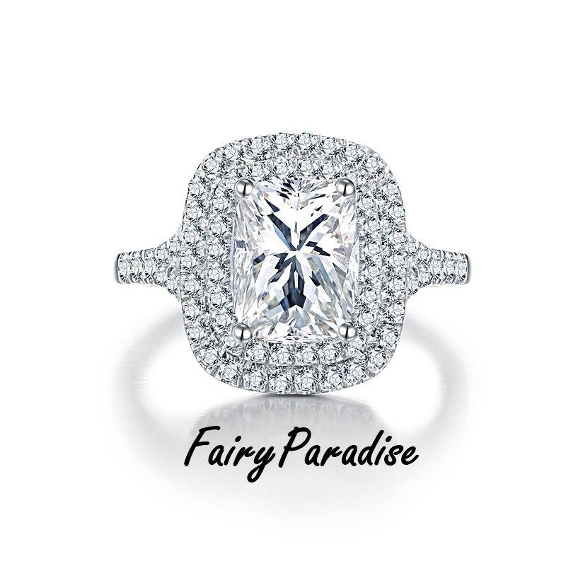 Свадьба - Art Deco 3 Ct Radiant Cut Double Halo Engagement Ring / Promise Rings , Man Made Diamond, Split Shank ( FairyParadise )