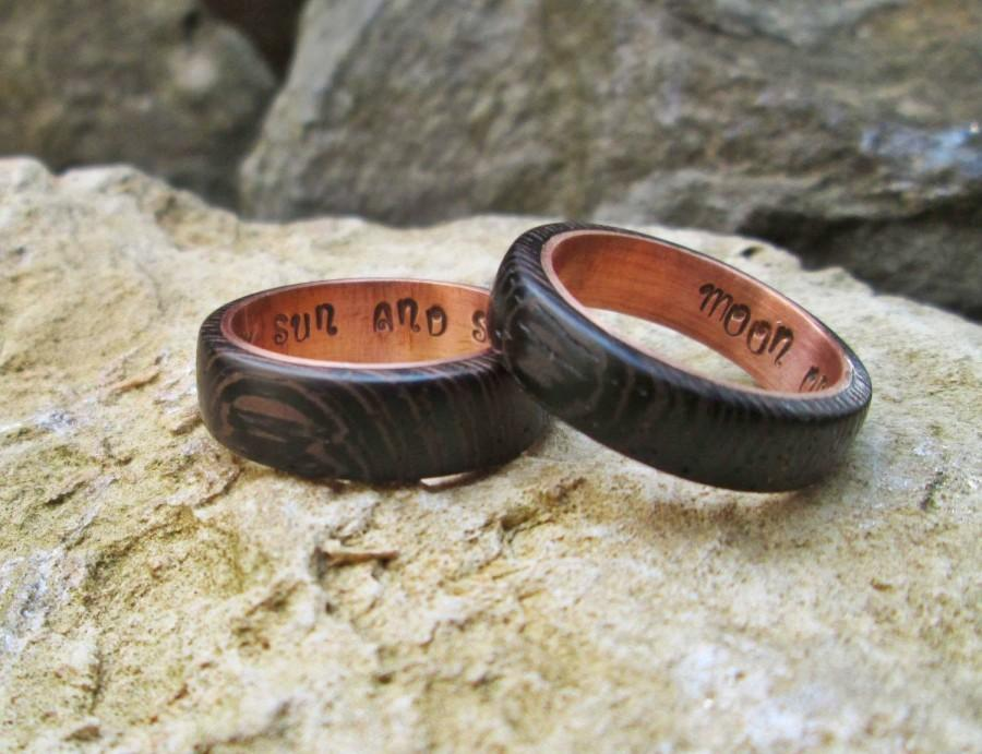 Copper And Wenge Wood Rings Wedding Ring Copper Ring Moon Of My Life