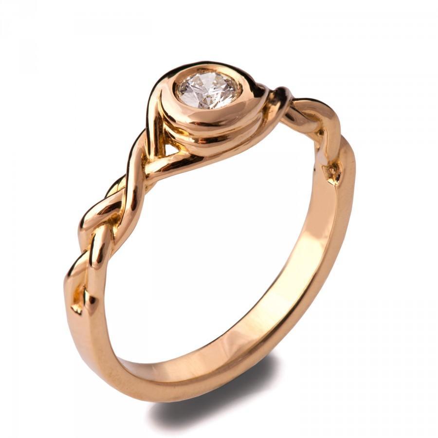 Mariage - Braided Engagement Ring - 18K Rose Gold and Diamond engagement ring, celtic ring, unique engagement ring, wedding band, 5
