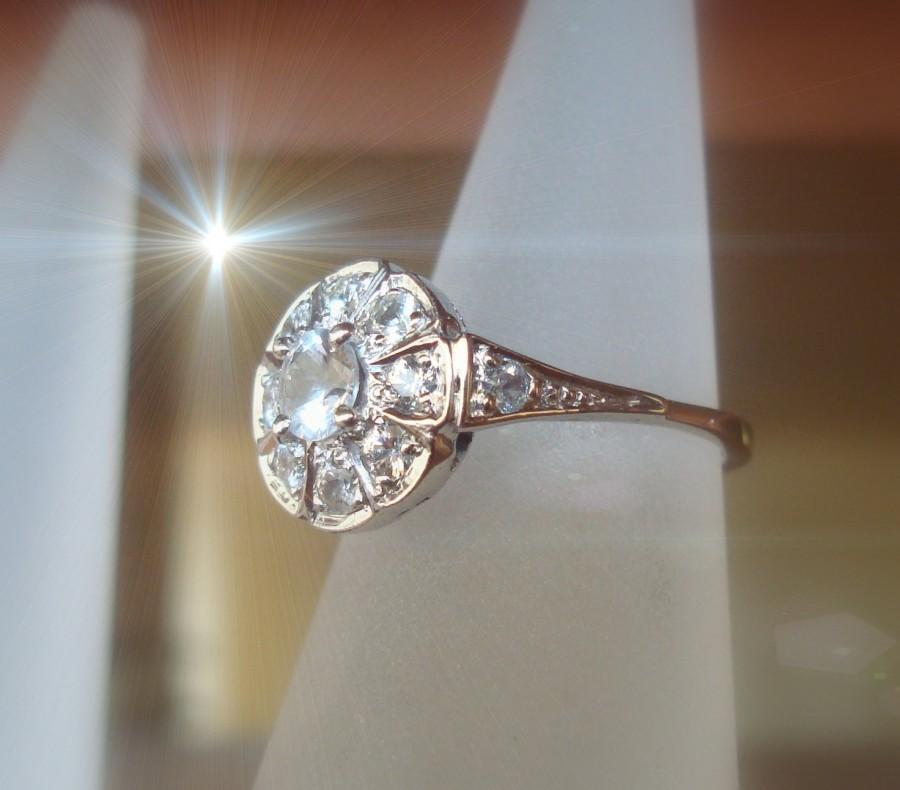Hochzeit - white gold ring, natural pure white Sapphiresring handmade Art Deco  P-026