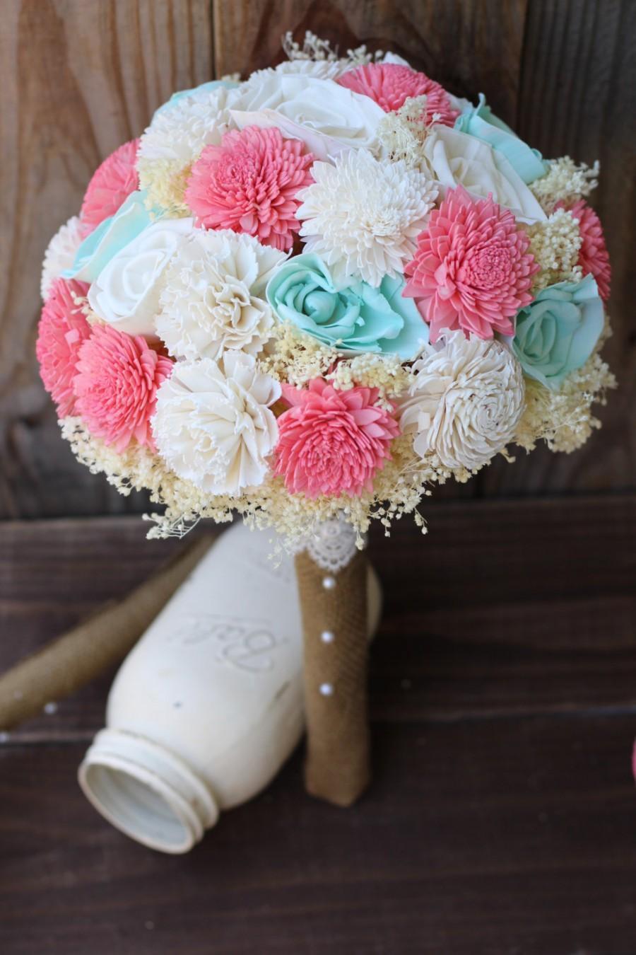 Свадьба - sola bouquet, wedding bouquet, mint and coral bouquet, bridal bouquet, bridesmaid bouquet