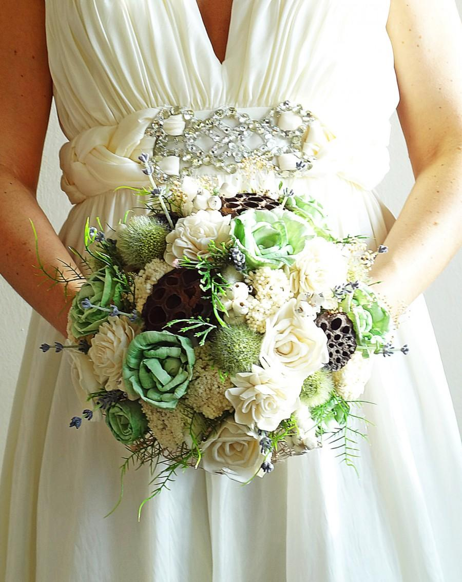 Mint Sola Flower Bride Bouquet Rustic Balsa Wood Natural Woodland ...