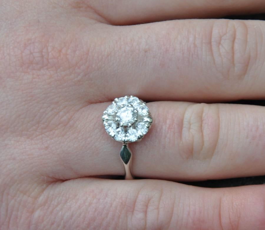 Wedding - Diamond Cluster  Ring 0,62 carat  Round Diamond Solitaire White gold 14K Weddings Luxury Brides Handmade Engagement ring Halo ring Flower