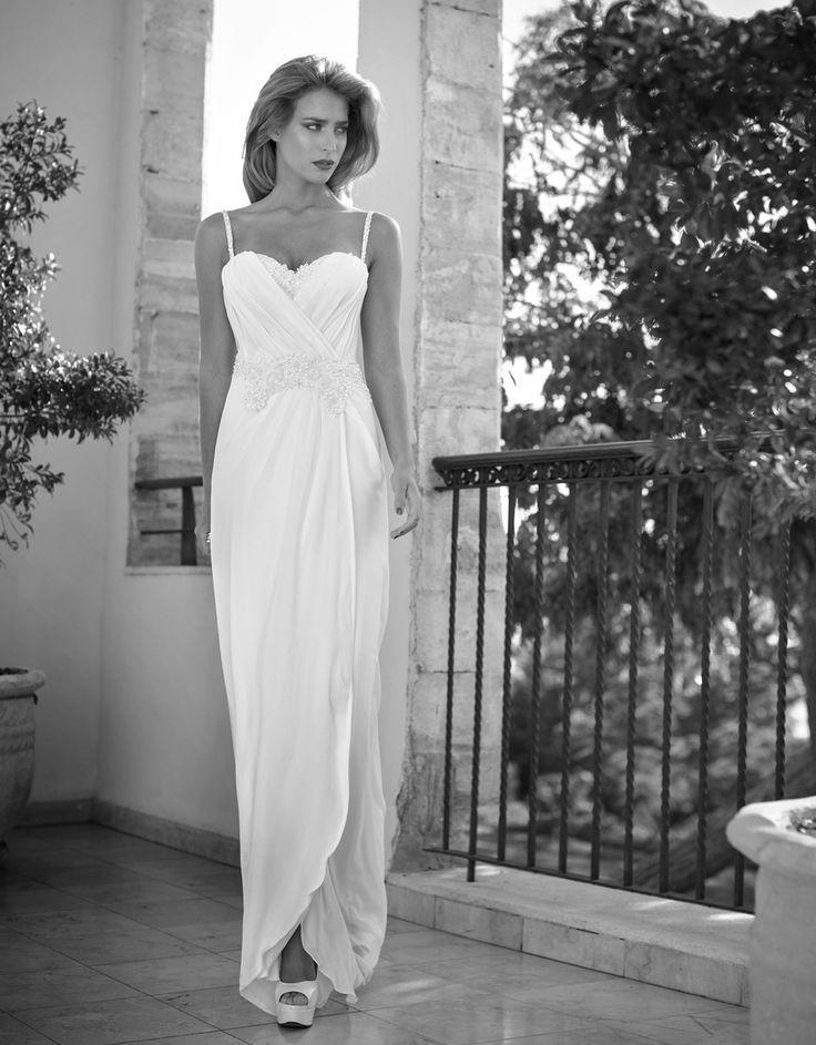 Wedding - Bohemian Simplicity Spaghetti Strap Chiffon Beach Wedding Dress :: Autumn Collection