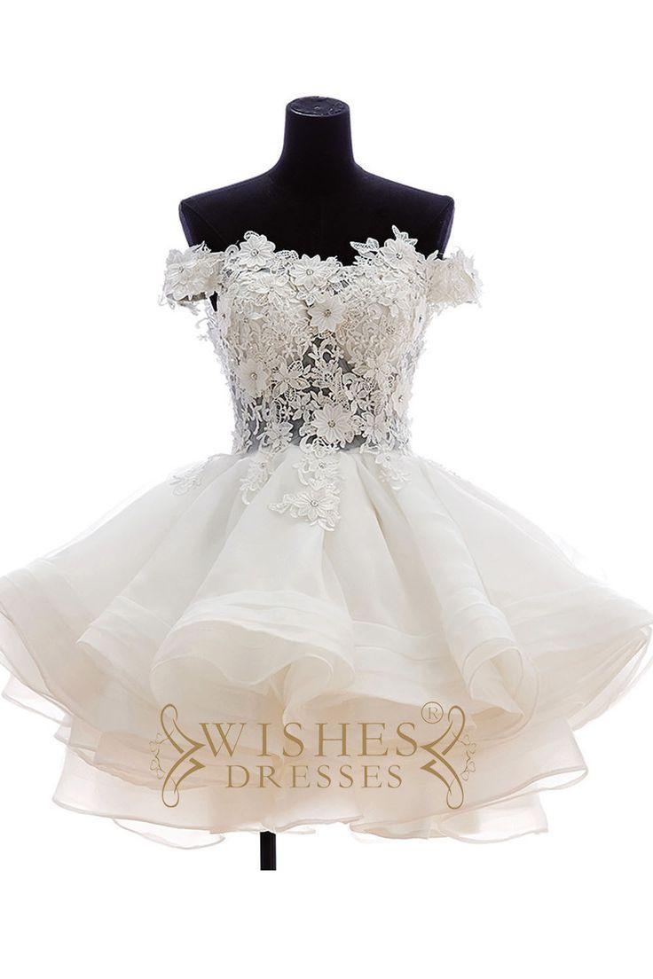 Wedding - Lovely Off-the-shoulder Applique Short Wedding Dresses AM478