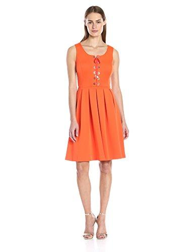 Wedding - Tommy Hilfiger Women's Lace up Front Fit and Flare Dress, Tangerine, 10 - Ussalezin
