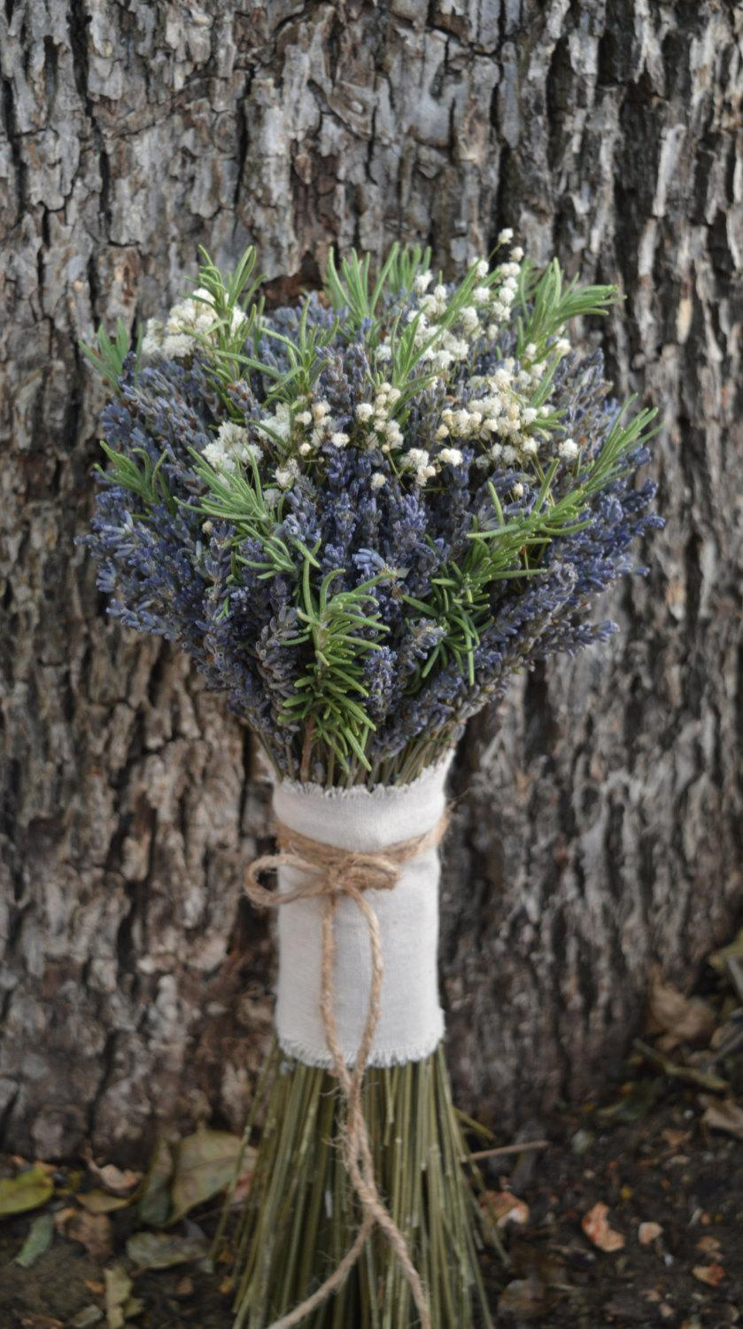 Rustic Romance Bouquet Dried Lavender Bouquet Dried Baby S Breath Fresh Rosemary Bouquet