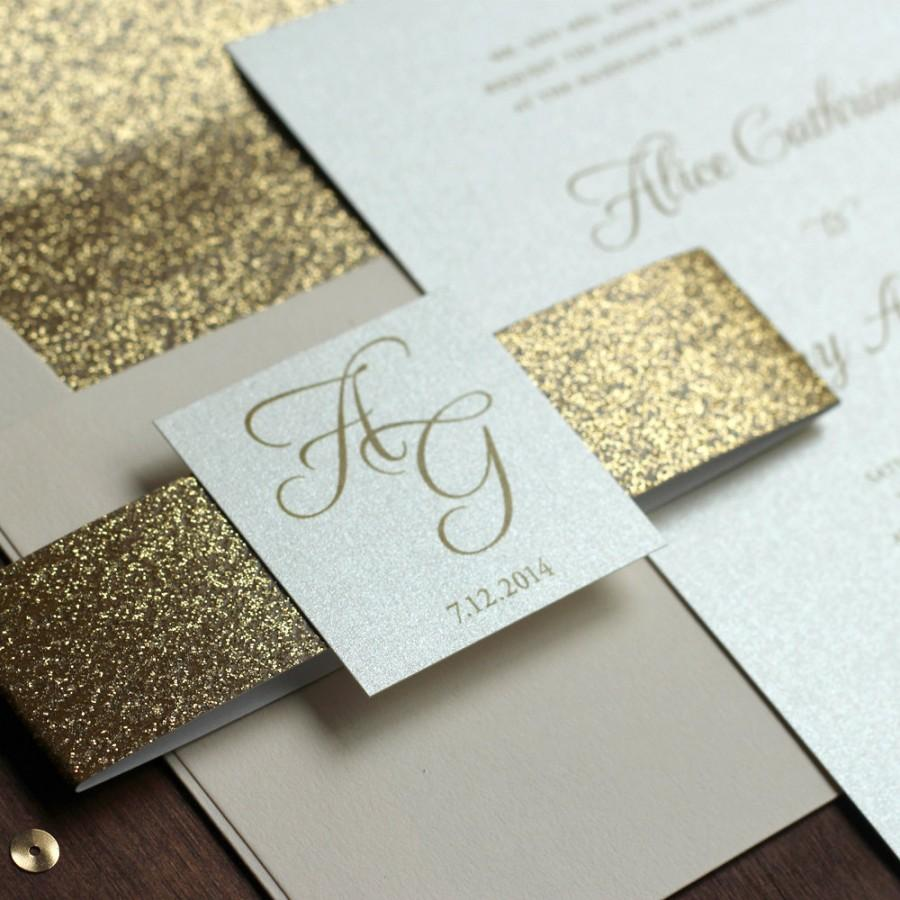 Glitter Wedding Invitation, Gold And Blush Invite, Belly Band ...