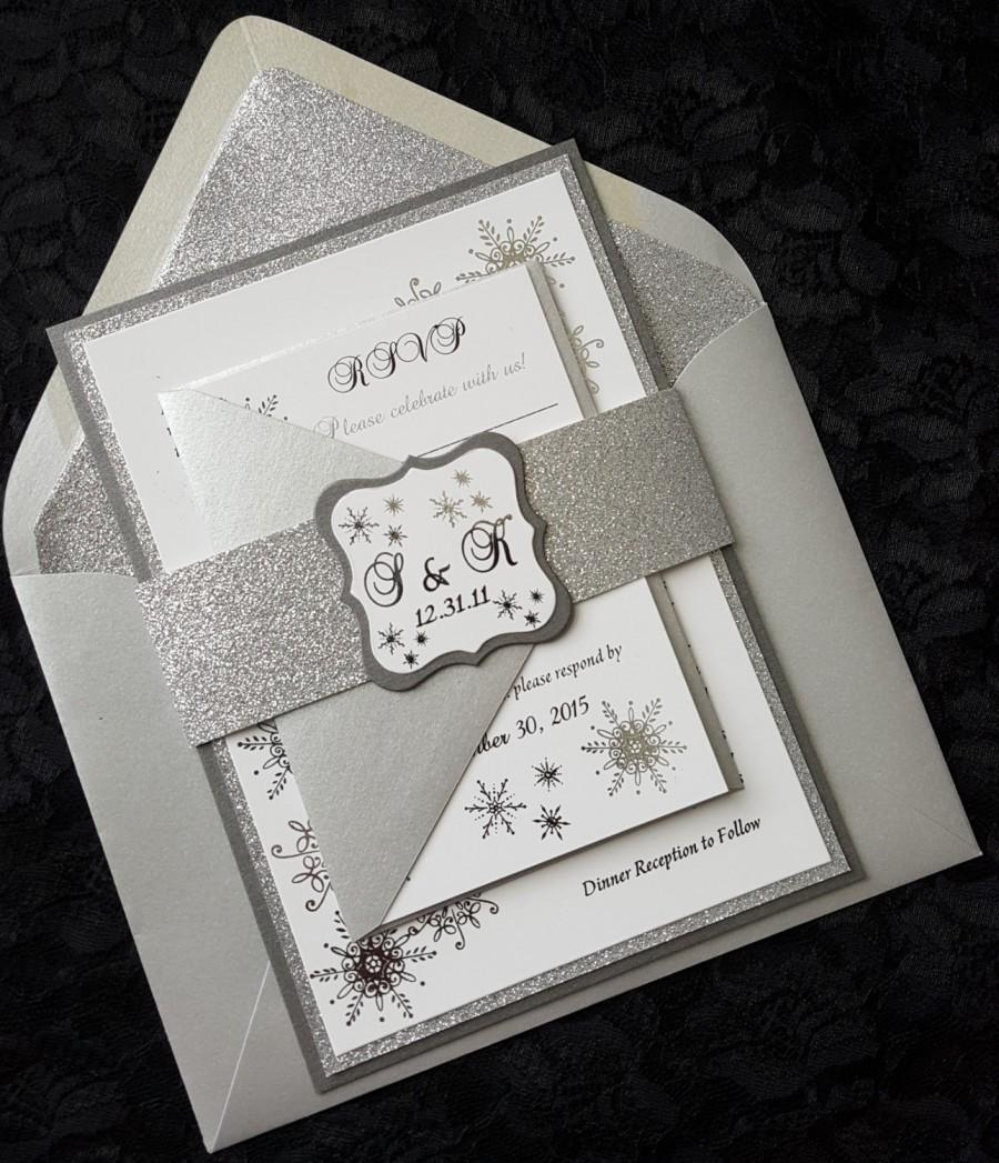 Winter Wonderland Foil Invitation, Silver Foil Wedding Invitation ...