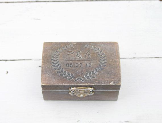 Wedding - Ring Bearer Box, Wedding Ring Box, Personalised Wedding Ring Box, Ring Bearer Pillow, Rustic Wedding Ring Holder, Pillow Bearer Box