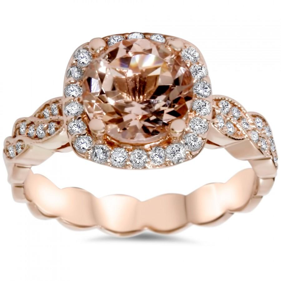 زفاف - Morganite Diamond Cushion Halo Infinity Engagement Antique Vintage Style Ring 2.30CT Morganite Diamond Cushion Halo Infinity Engagement