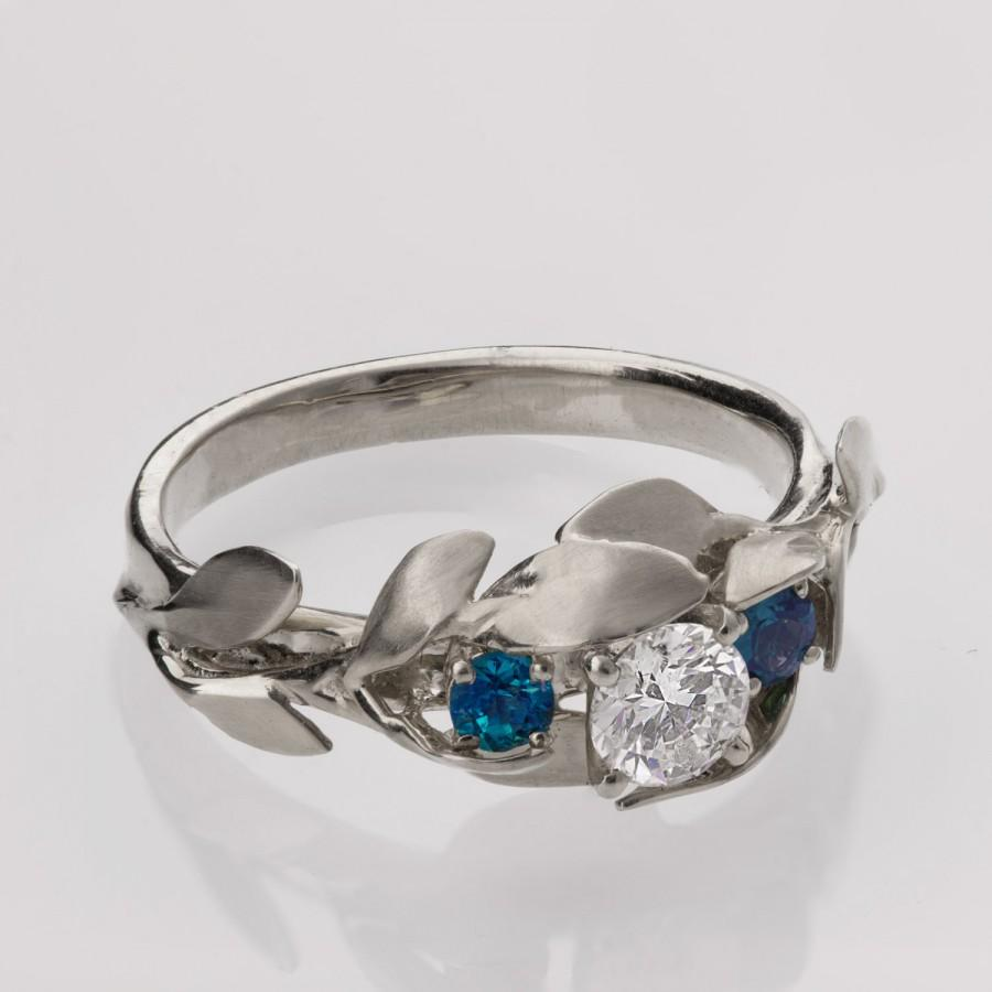 Leaves Engagement Ring No. 8 - 14K White Gold And Diamond ...