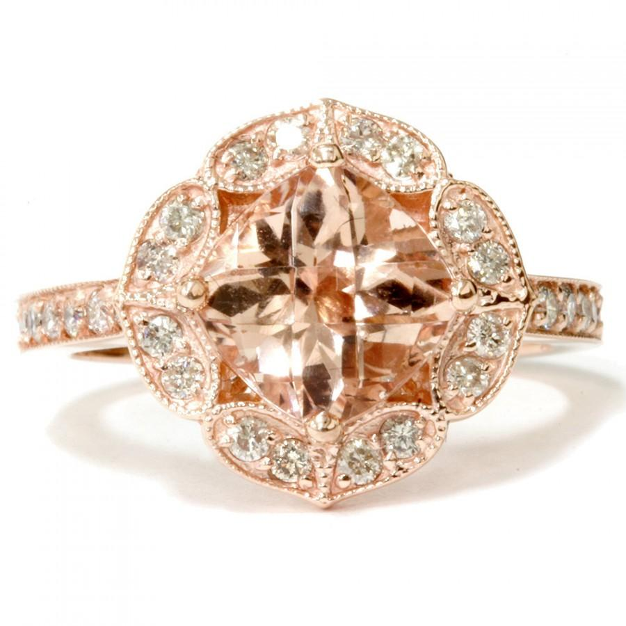 Vintage Morganite & Diamond Engagement Ring Cushion Morganite Antique  Milgrain Ring 14k Rose Gold Halo Vintage Antique Floral Style Size 49