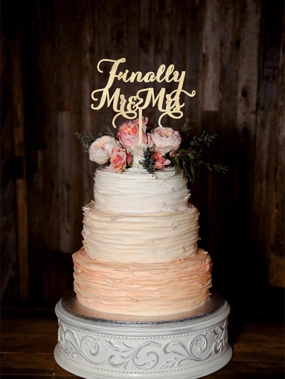 Hochzeit - Finally Mr Mrs Wedding Cake Topper Wood Cake Topper Custom Wedding Topper Gold cake topper Silver cake topper