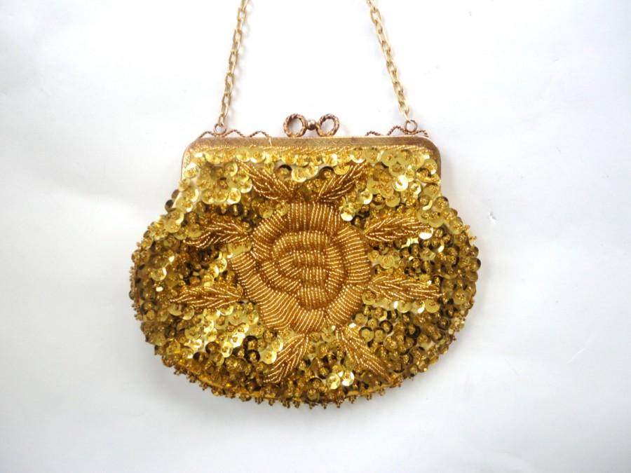 Wedding - Vintage Gold Handbag, Sparkly Purse, Weddings, Proms and Parties, Evening Bag, Small Shoulder Bag, Gold Party Purse, Wedding Handbag