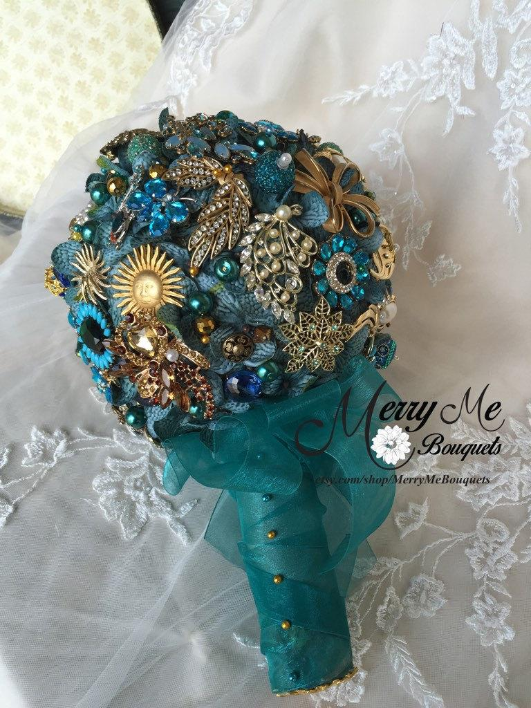 Mariage - Teal Brooch Bouquet - Teal and Gold Brooch Bouquet - Teal Bridal Bouquet - Vintage Brooch Bridal Bouquet - Teal and Gold Bouquet