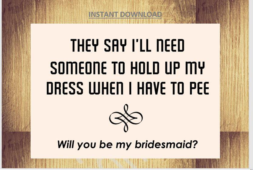 زفاف - Bridemaids Invitation Printable Will you be my bridesmaid/ Funny Card 5 x 7