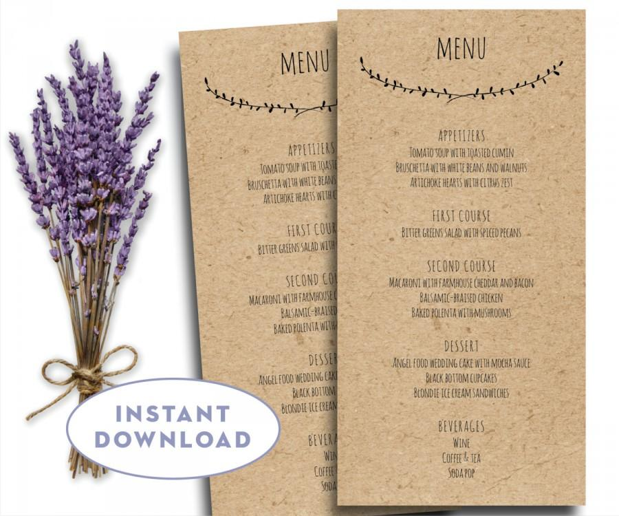 printable wedding menu template kraft menu template 4 x 8