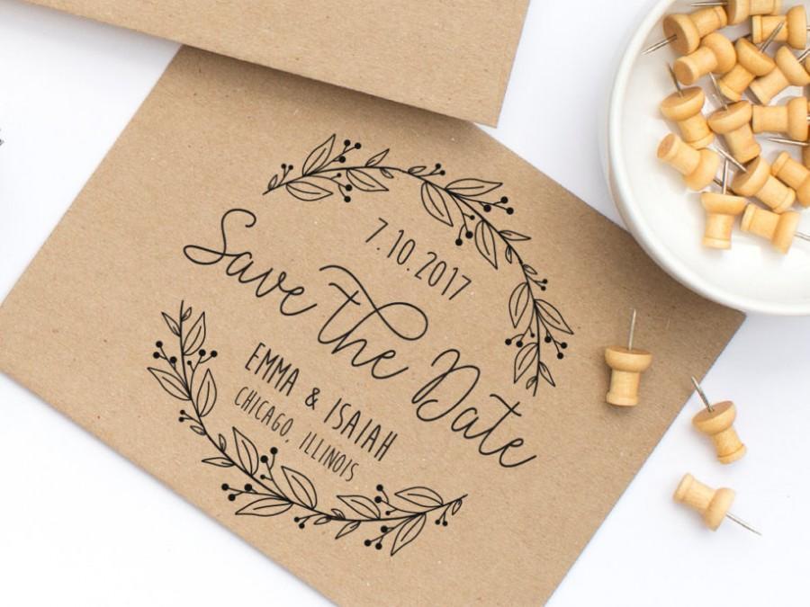 Hochzeit - Save the Date Stamp, Wedding Stamp with Wreath, Save the Dates, Wedding Stamp With Names and Date, Custom Save the Date Stamp Style No. 64W