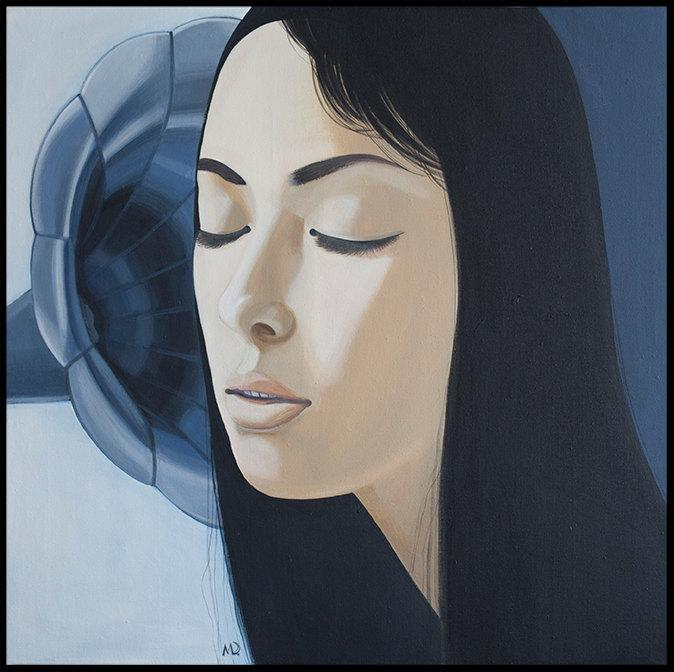 Boda - Portrait Painting Acrylic painting on canvas Portrait of a girl Music Phonograph Minimalist Art Framed