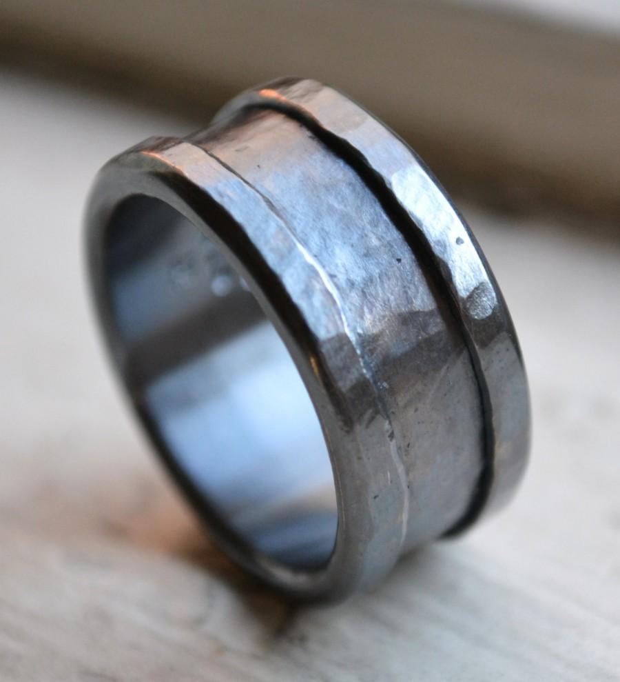 custom mens wedding band - oxidized fine silver and sterling