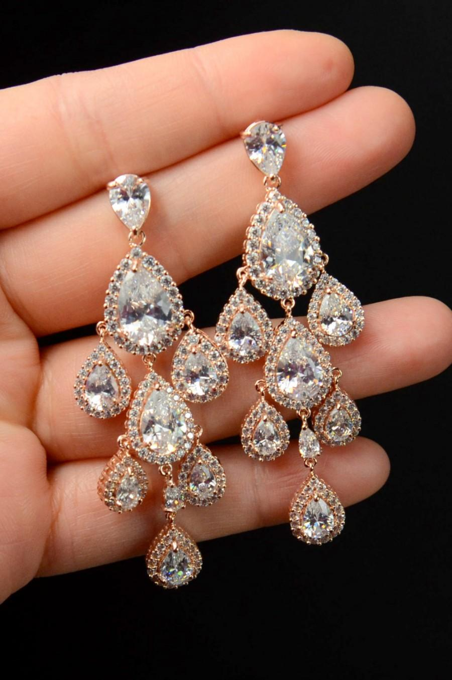 Свадьба - Wedding earrings,Wedding jewelry,Rose Gold Bridal earrings,Rose Gold Chandelier earrings,CZ earrings, Wedding accessories, Bridesmaid