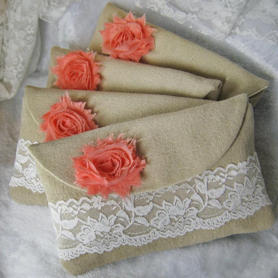 Hochzeit - Set of 8 - bridesmaids clutches, cotton linen lace clutches, wedding purse bags (Ref: CL888) CHOOSE Your Color Flower