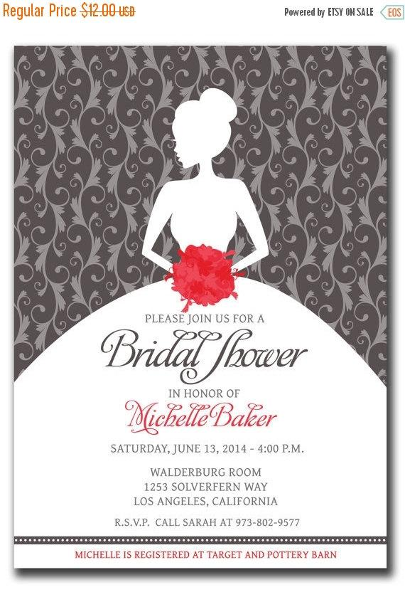 Mariage - SALE BRIDAL SHOWER Invitation - Pick any Color Combination or Bouquet Color - Bride Silhouette  - Silver Pink Gray Bridal Shower Color Schem