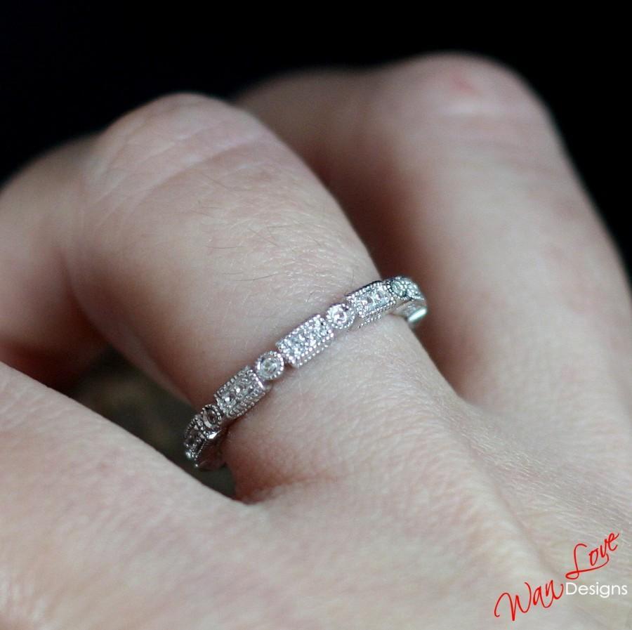 Свадьба - Diamond Milgrain Filigree Art Deco style Eternity Stack Wedding Band Engagement Ring 14k 18k White Yellow Rose Gold-Platinum-Custom