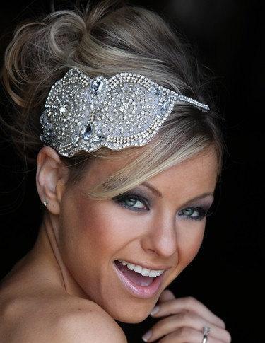 Hochzeit - Bridal oversized headpiece headdress Bridal Headband, Crystal Vintage Style Wedding Headband, Art Deco, Couture Headdress